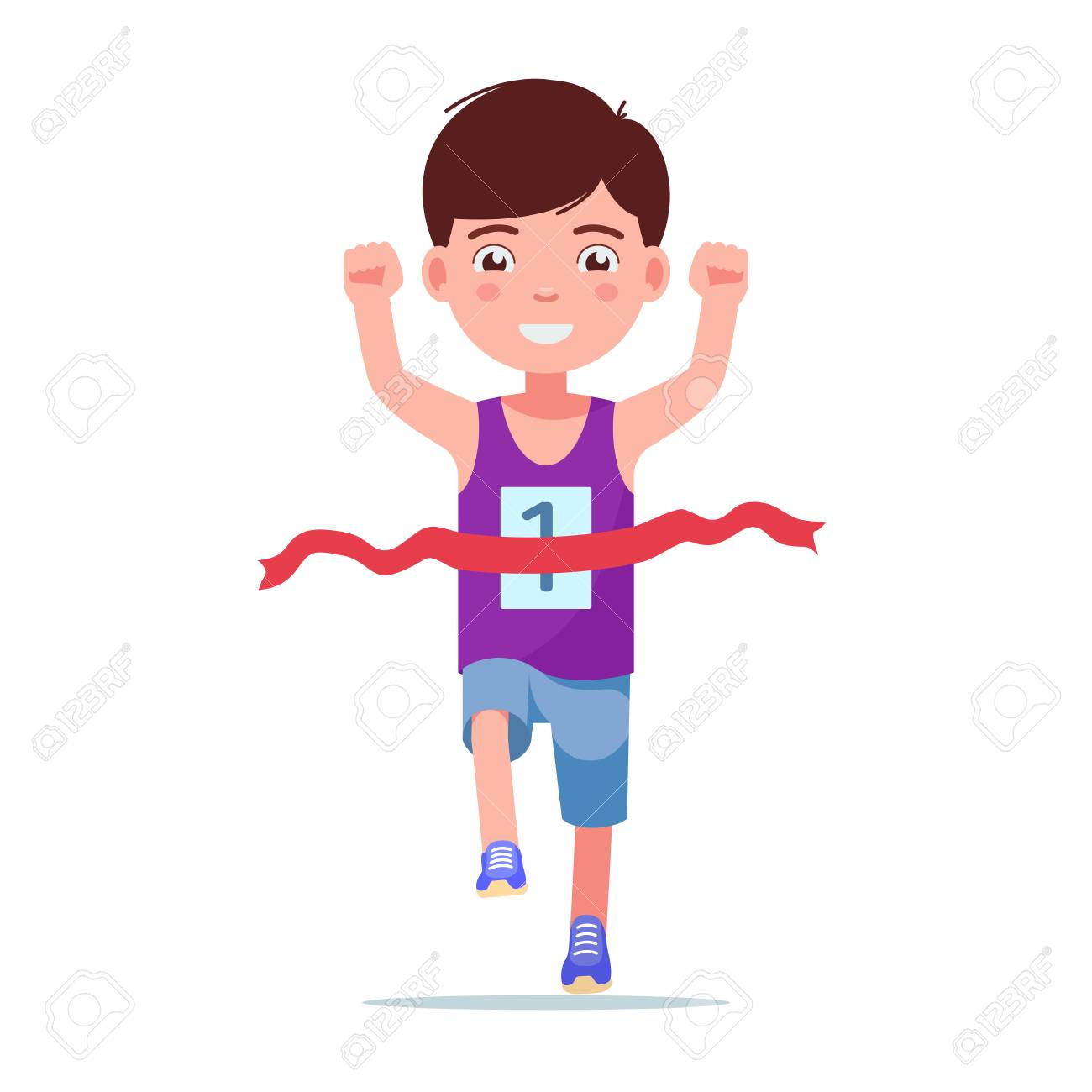 Vector illustration of a cartoon boy running and winning a marathon. Isolated white background. Kid runner winner. The child finishes the first race. Flat style. - 109215895