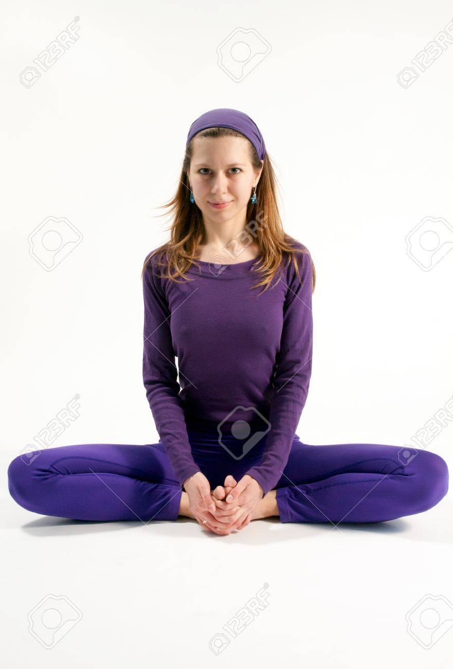 The Bound Angle Or Butterfly Pose In Yoga Stock Photo Picture And