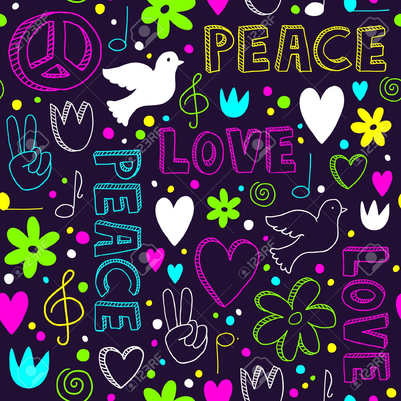 Bright Hand Drawn Seamless Pattern With Symbols Of Peace Doves