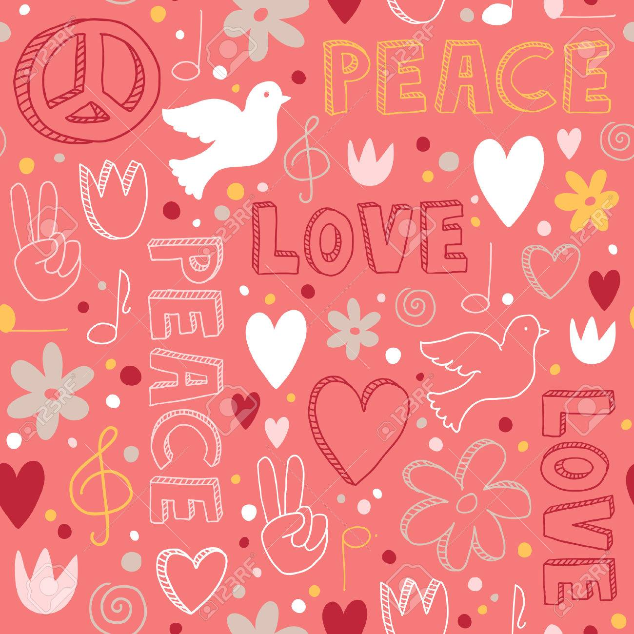 Cute hand drawn seamless pattern with symbols of peace doves cute hand drawn seamless pattern with symbols of peace doves hearts peace buycottarizona Images