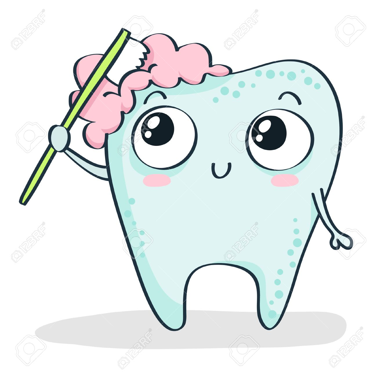 Cute Cartoon Tooth Brushing Itself Isolated On White Royalty Free Cliparts Vectors And Stock Illustration Image 40409658