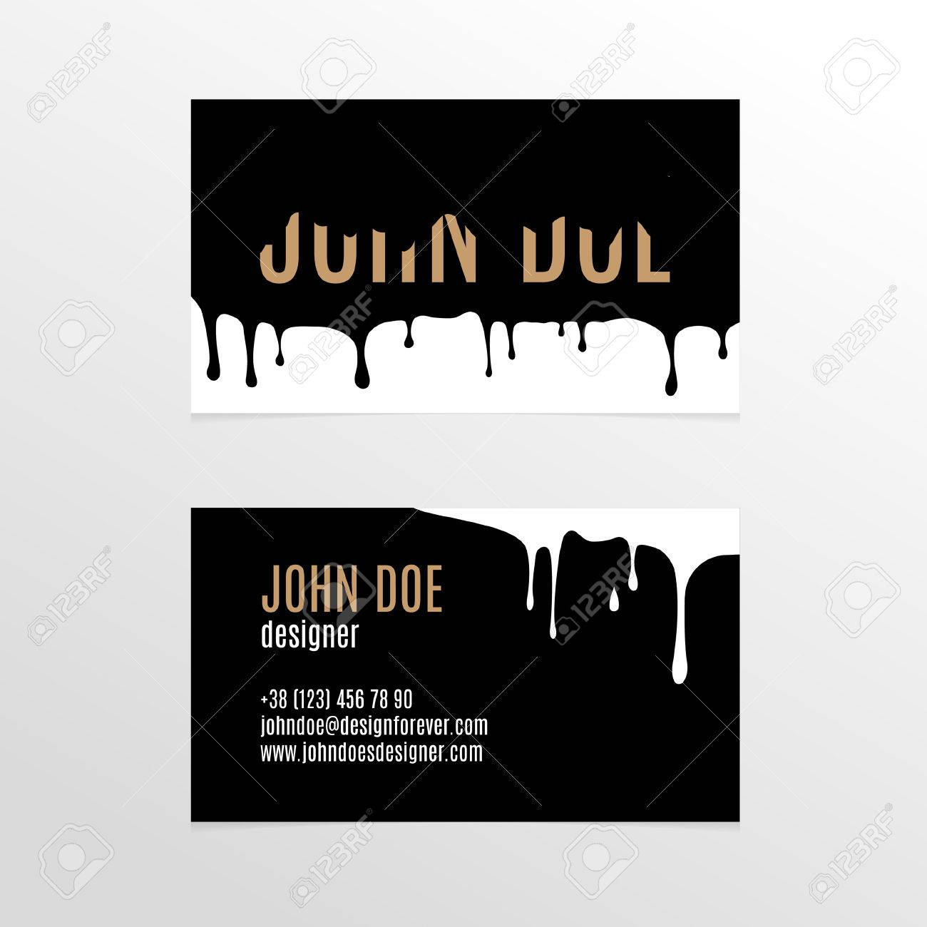 Stylish Business Card Design With Dripping Black Paint Royalty Free ...