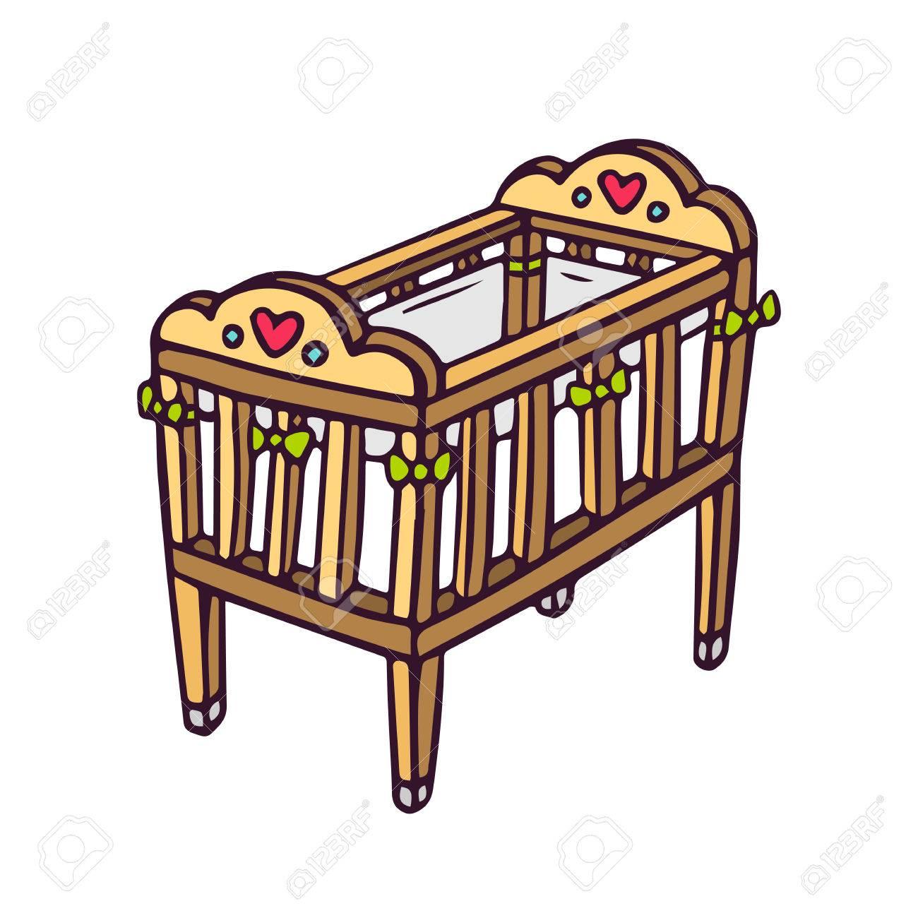 Cuna Del Bebé, Los Niños Vector Ilustración Brillante De La Cuna Del ...