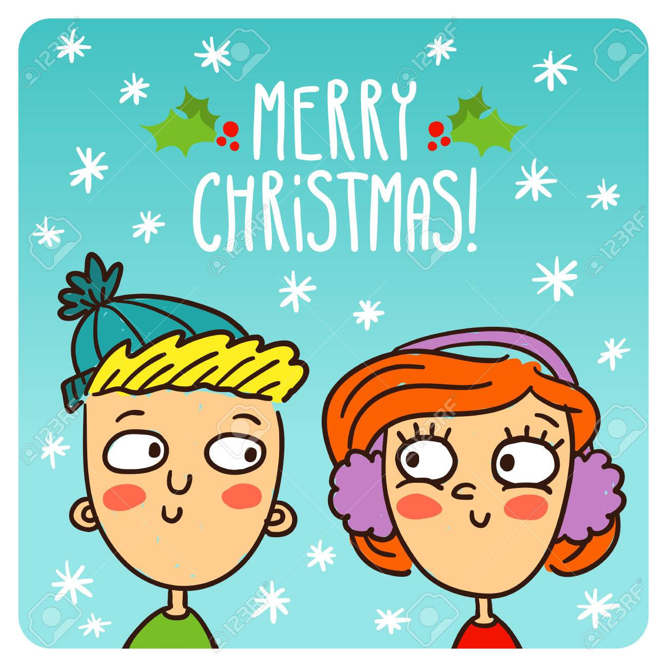 Vector cartoon couple christmas and new year greeting card design vector cartoon couple christmas and new year greeting card design template with cute characters on kristyandbryce Gallery