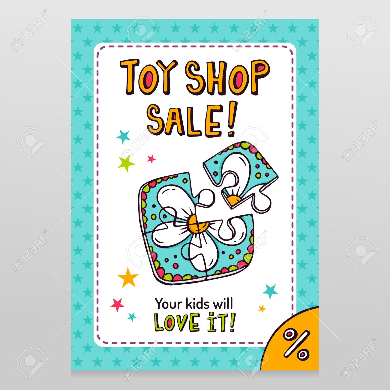 toy shop bright vector sale flyer design with toy jigsaw puzzle