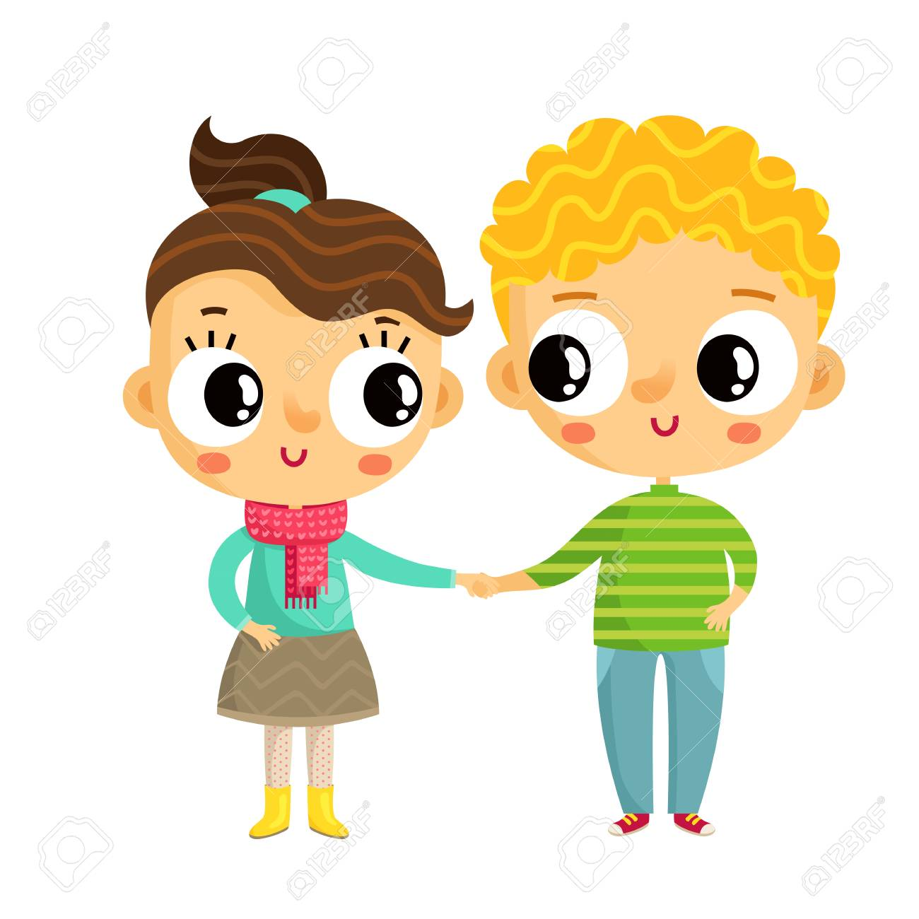 cartoon vector girl and boy holding hands cute characters isolated rh 123rf com