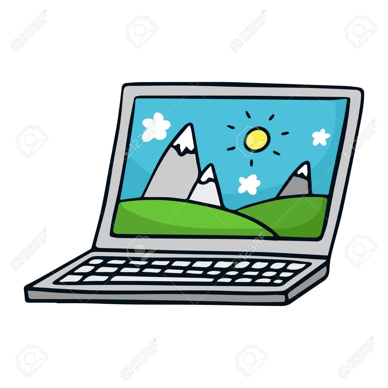 Lindo Dibujo Vectorial Dibujo De La Computadora Portátil, Aislado ...