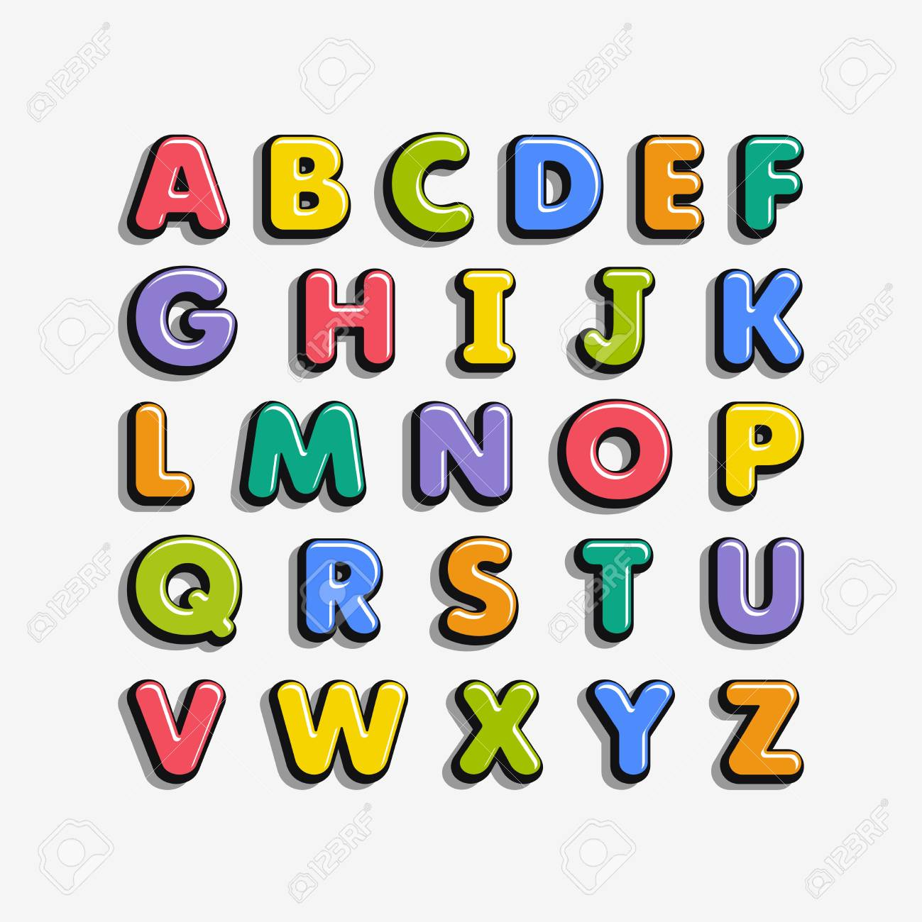 Alphabet for kids in the cartoon style. Children's font with colorful letters. Vector illustration. - 102585130