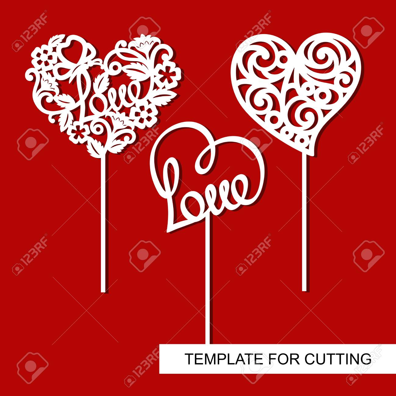 Set of toppers. Hearts. Decoration for Valentine's Day. Template for laser cutting, wood carving, paper cut and printing. - 102558023