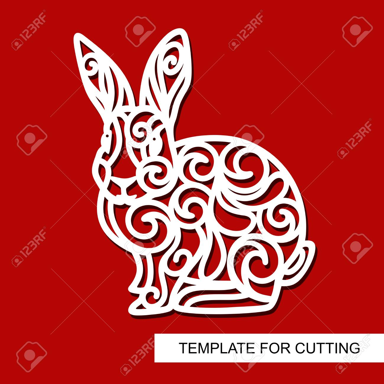 Silhouette Of Rabbit Decor For Easter Template For Laser Cutting