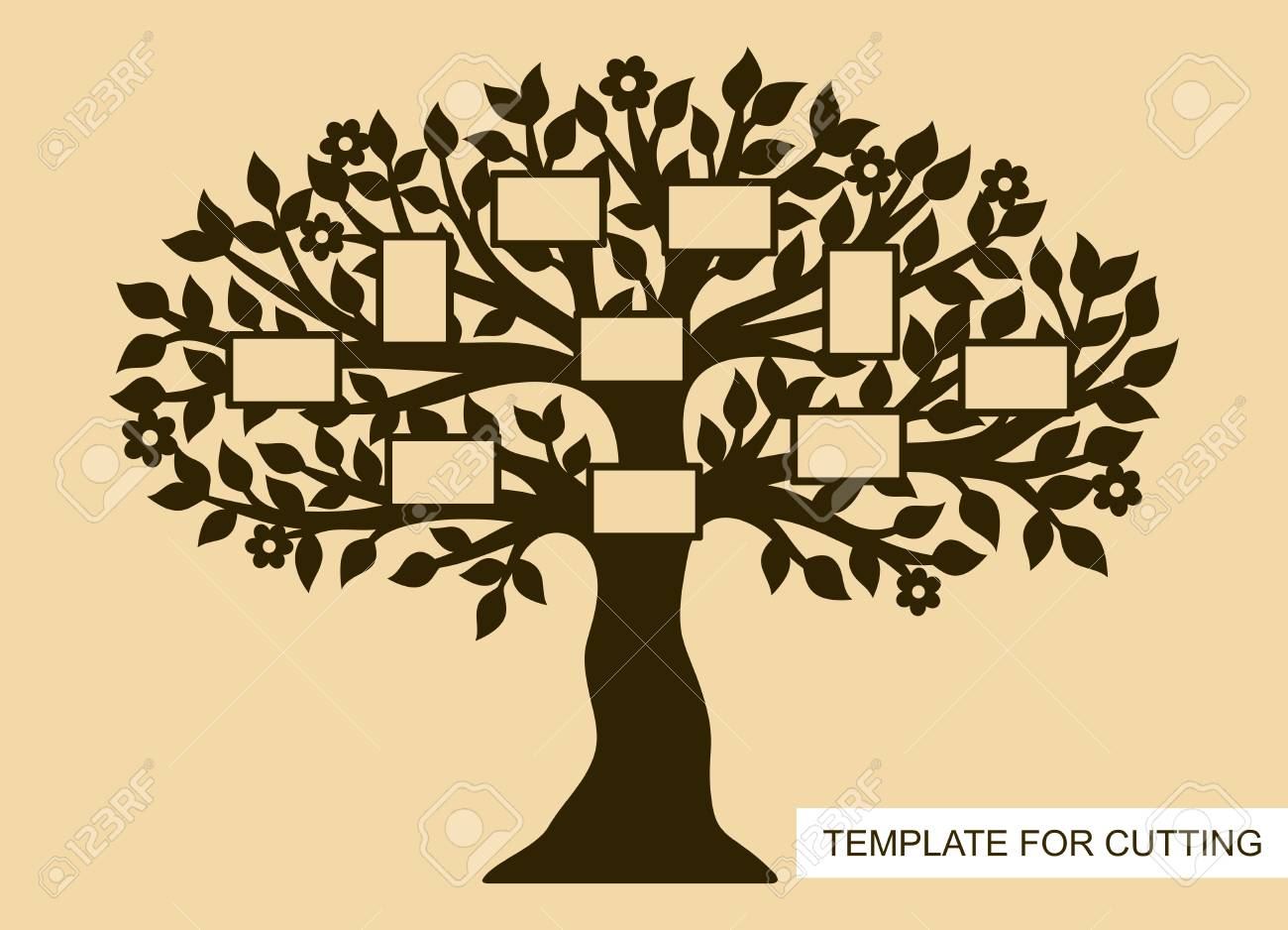 Family Tree With Photo Frames Template For Laser Cutting Wood