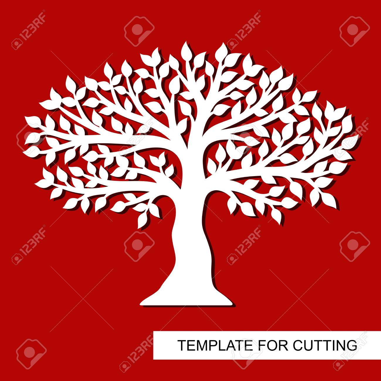 Tree Silhouette Isolated Template For Laser Cutting Wood Carving