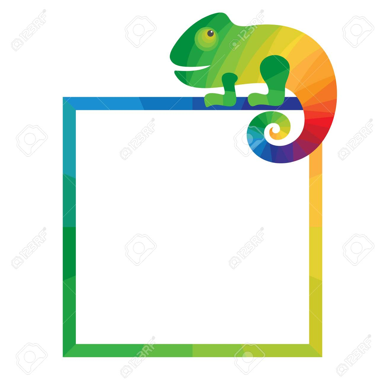 Multicolored Square Frame With Chameleon. Template For Photo ...