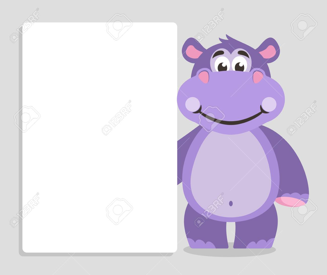 Violet Hippo With White Board On A Gray Background Template