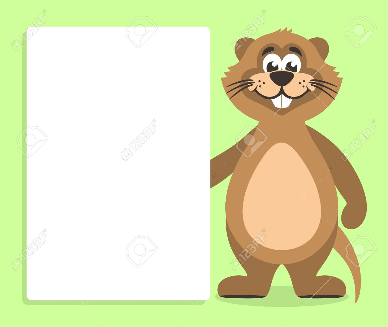 Brown Nutria With White Board On A Green Background Template