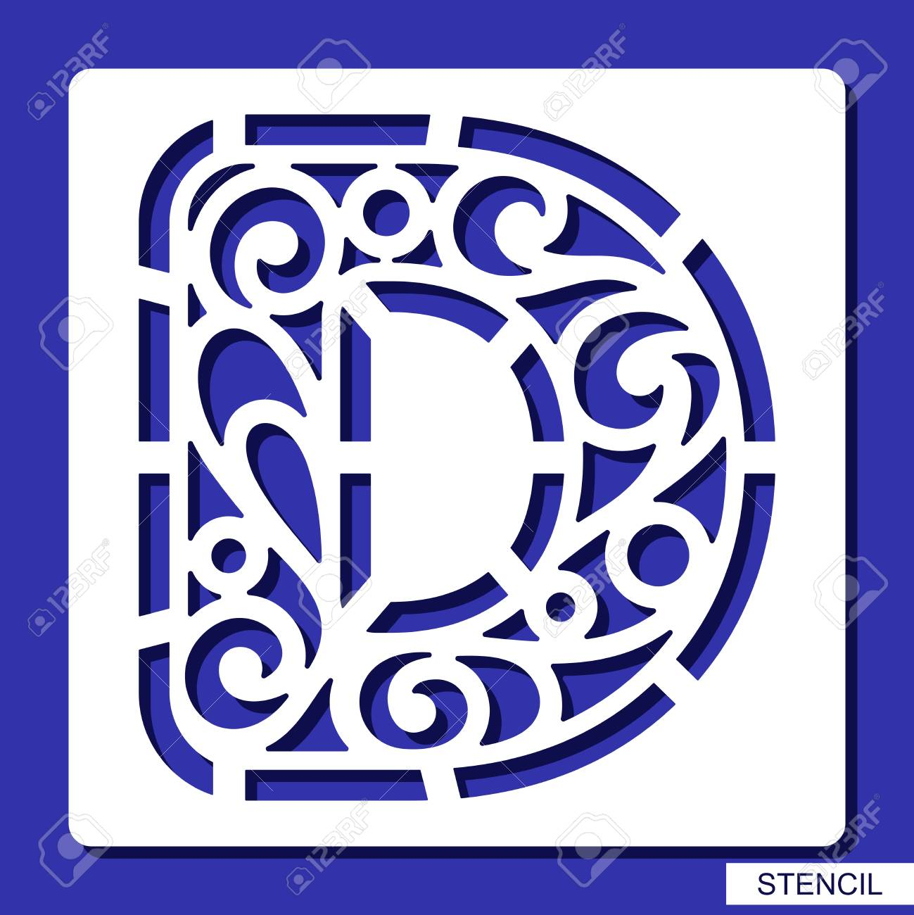 Stencil Alphabet Lacy Letter D Template For Laser Cutting