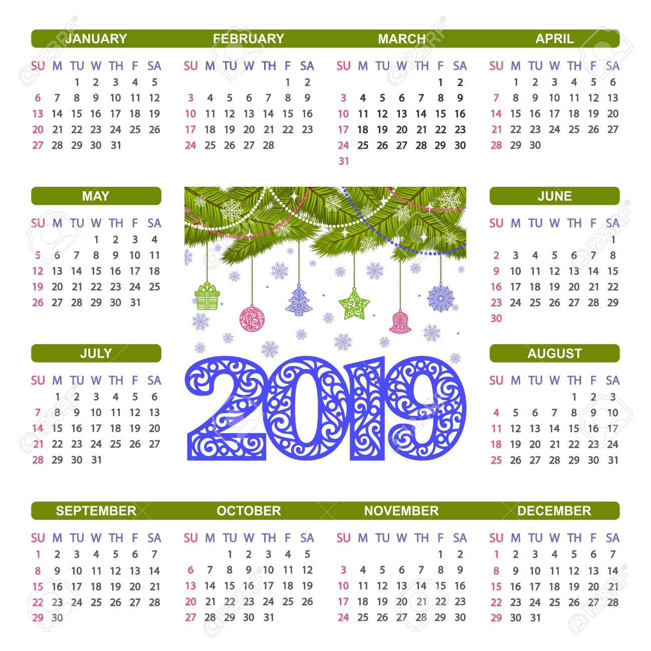 Christmas 2019 Calendar.Colorful Square Calendar 2019 With Snowflakes Christmas Tree