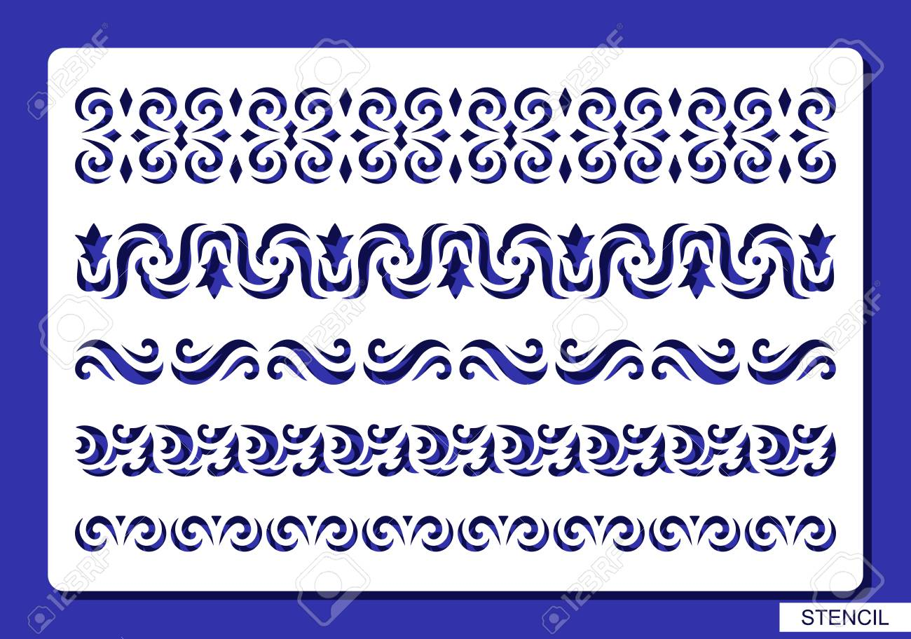 Stencil With Lace And Floral Patterns Template For Laser Cutting