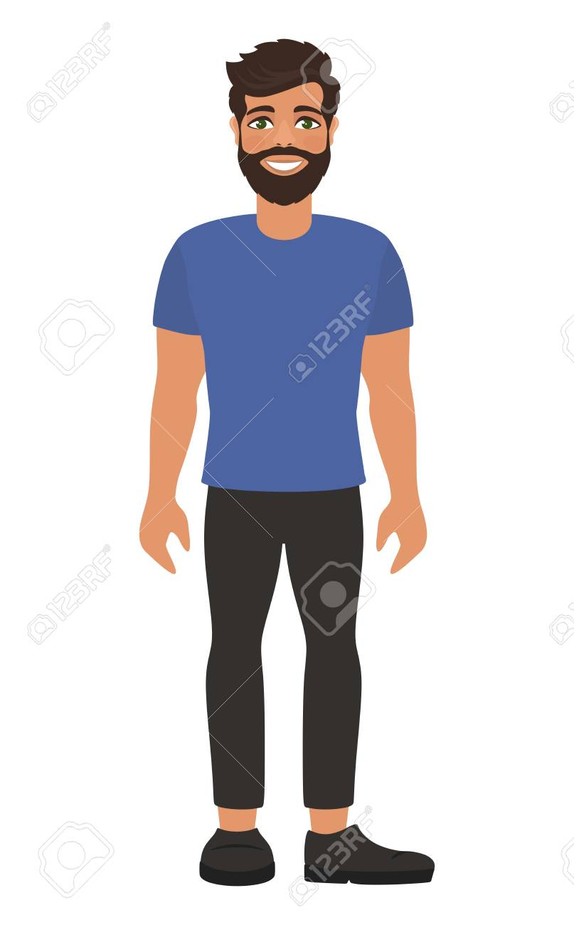 Handsome Bearded Man In Blue T Shirt And Dark Jeans Brown Hair