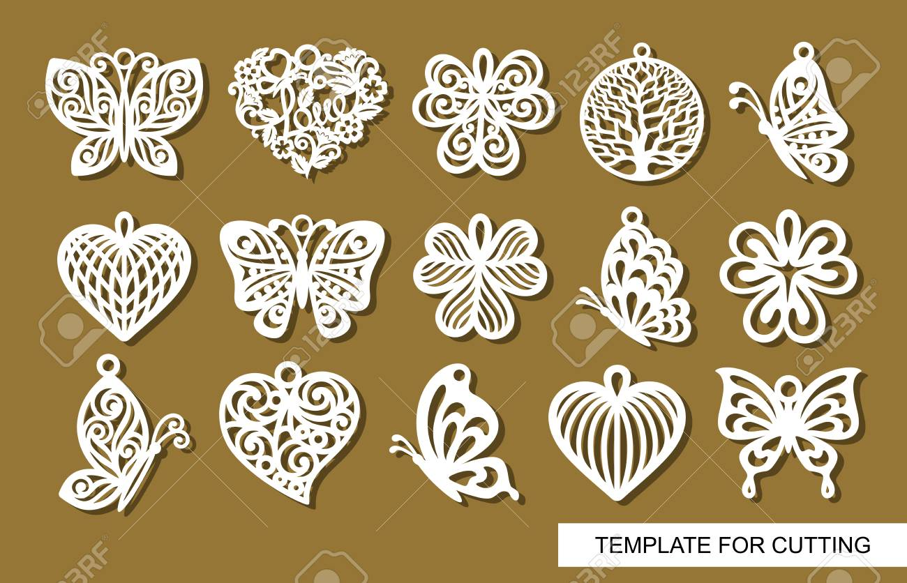 Set of decorative pendants. Decor in shape openwork butterflies, clover leaves, round hearts and lace hearts. Template for laser cutting, wood carving, paper cut or printing. - 119150769