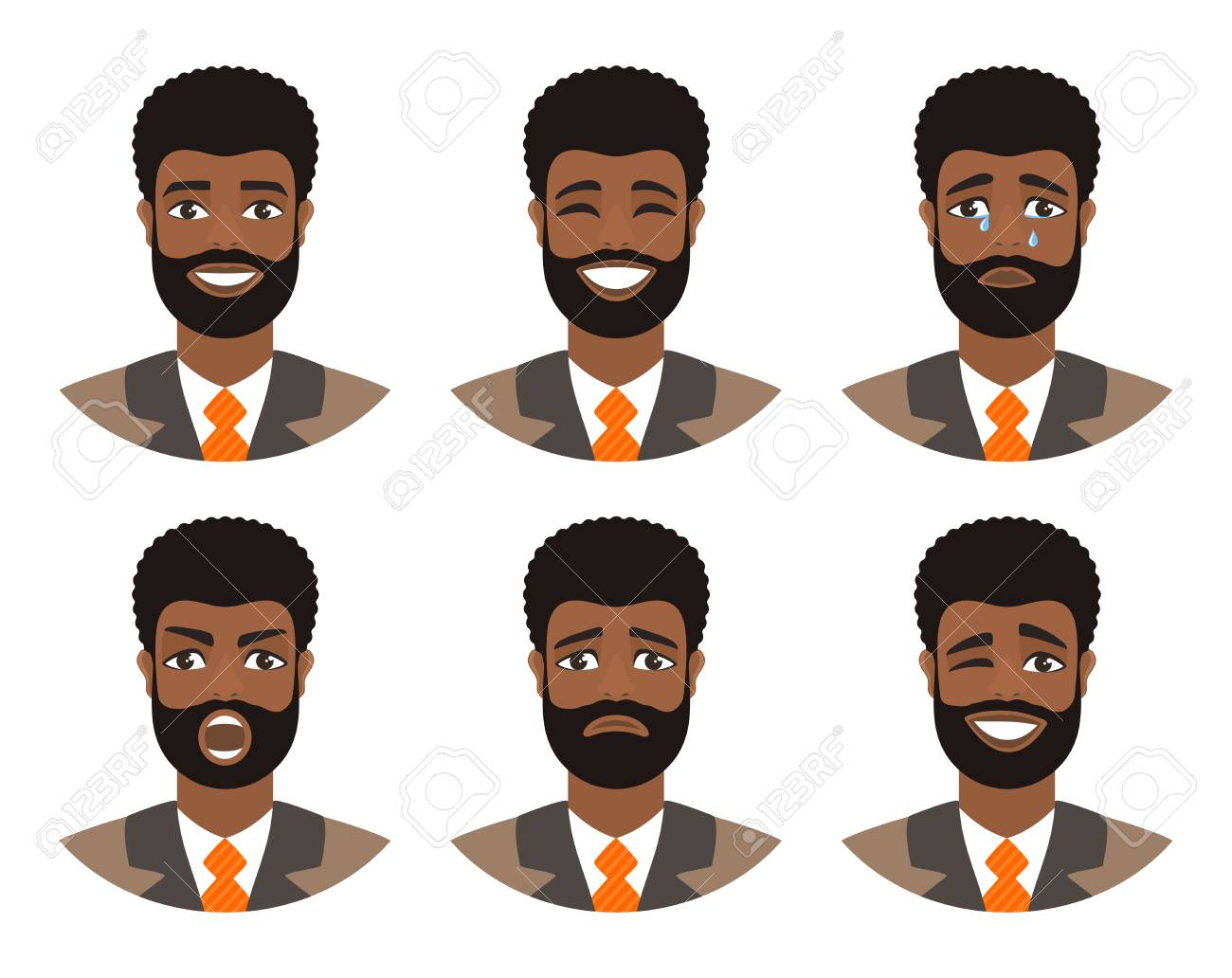 Set of mens avatars expressing various emotions: joy, sadness, laughter, tears, anger, disgust, cry. Businessman with dark curly hair and brown eyes. Cartoon character isolated on a white background. - 119150667