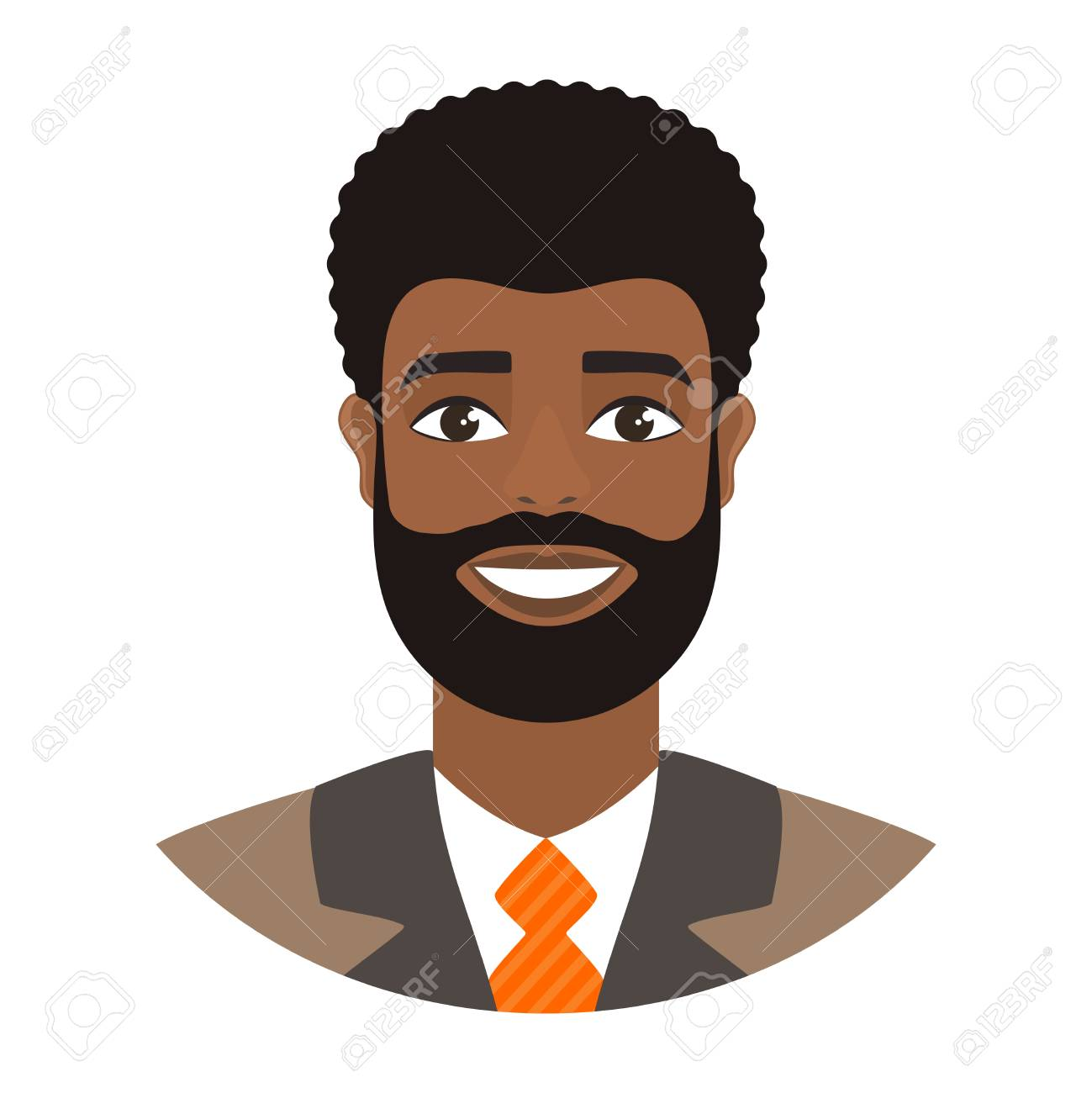 Portrait Of Smiling Afro Man Bearded Businessman In Suit And