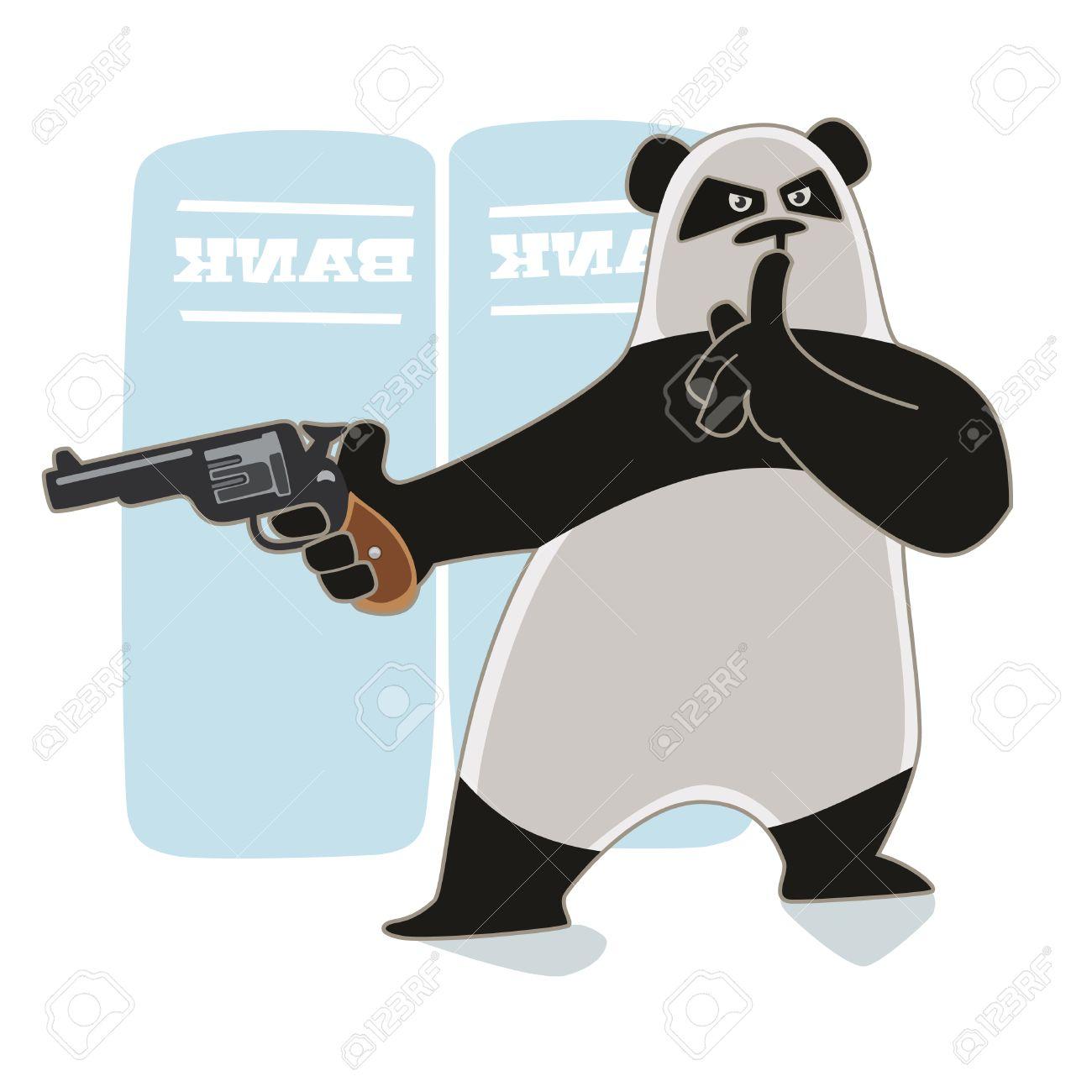Robber Holding Gun Robber Panda Holding a Gun