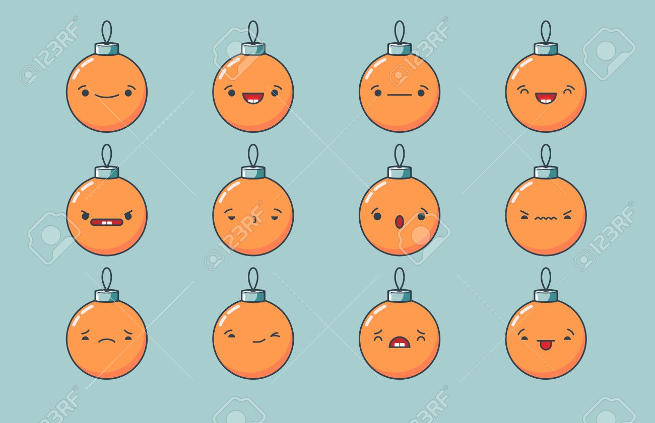 Set Of Vector Kawaii Christmas Ball Emoticons. Isolated On Light ...