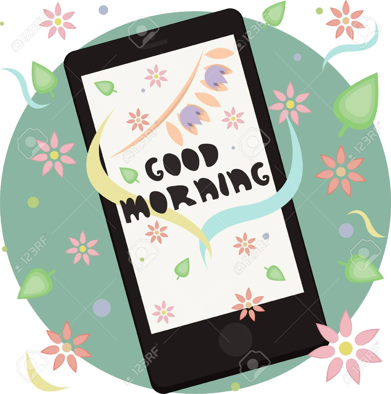 Morning Greeting On The Phone Vector Illustration Royalty Free