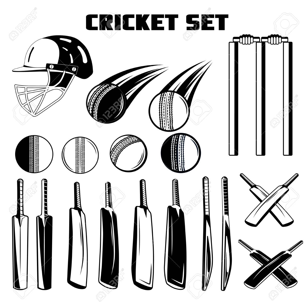 find all cricket accessories on sportreseller. | Clipart black and white,  Free clip art, Clip art