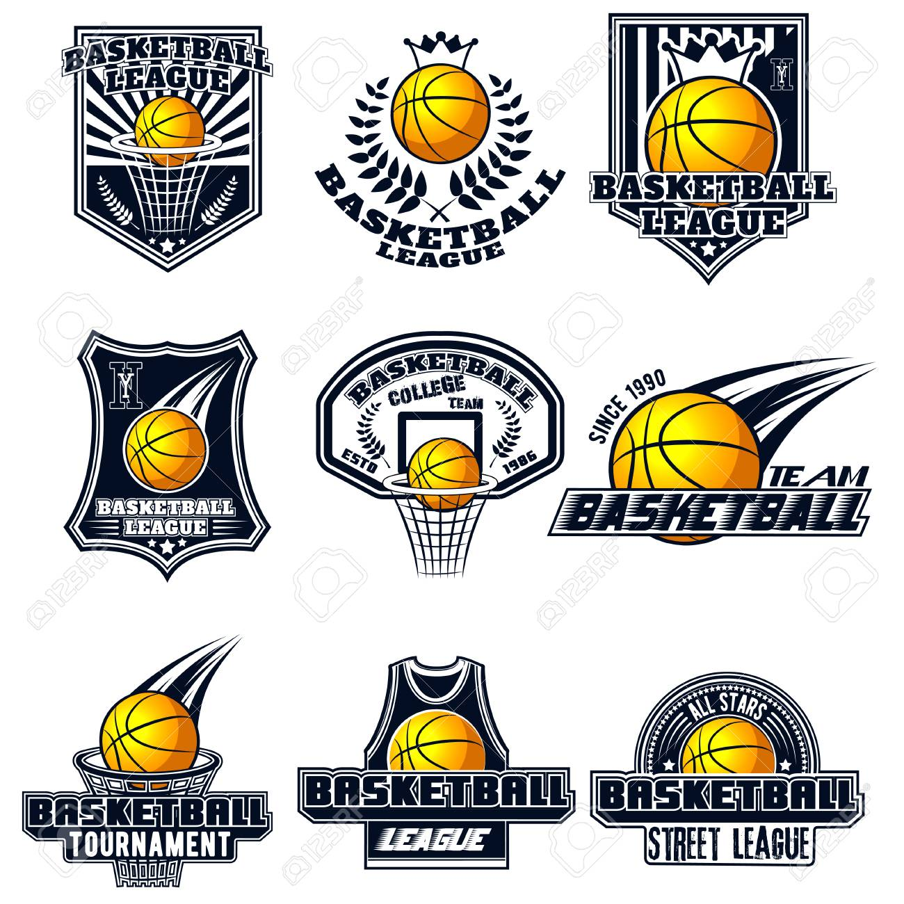 vector set basketball logos for print web design advertisement
