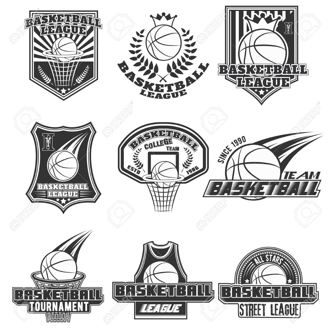 vector monochrome set basketball logos for print web design