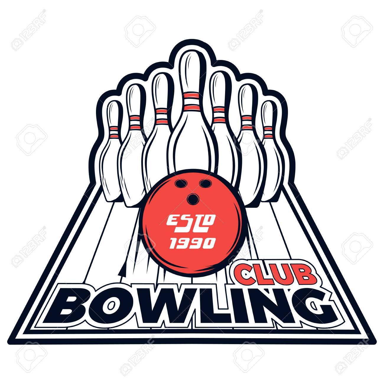 vector bowling club logo for print design internet on white rh 123rf com bowling logopedia bowling logos for shirts