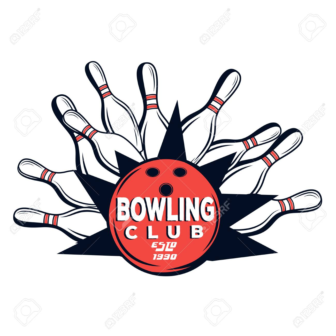 vector bowling club logo for print design internet on white rh 123rf com bowling logos pictures bowling logos and names