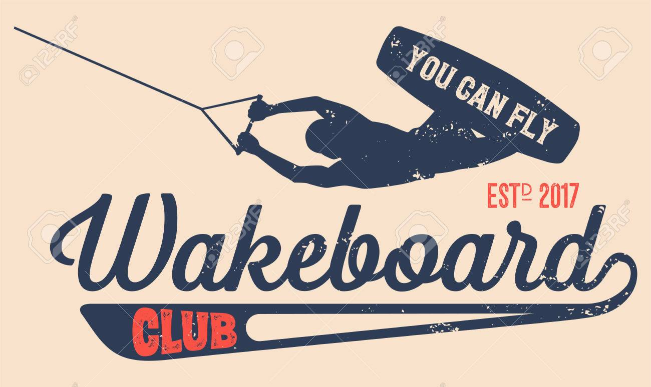 ベクトルのロゴ ウェイク ボード クラブあなたのユニークなデザインのビンテージ スタイルの t