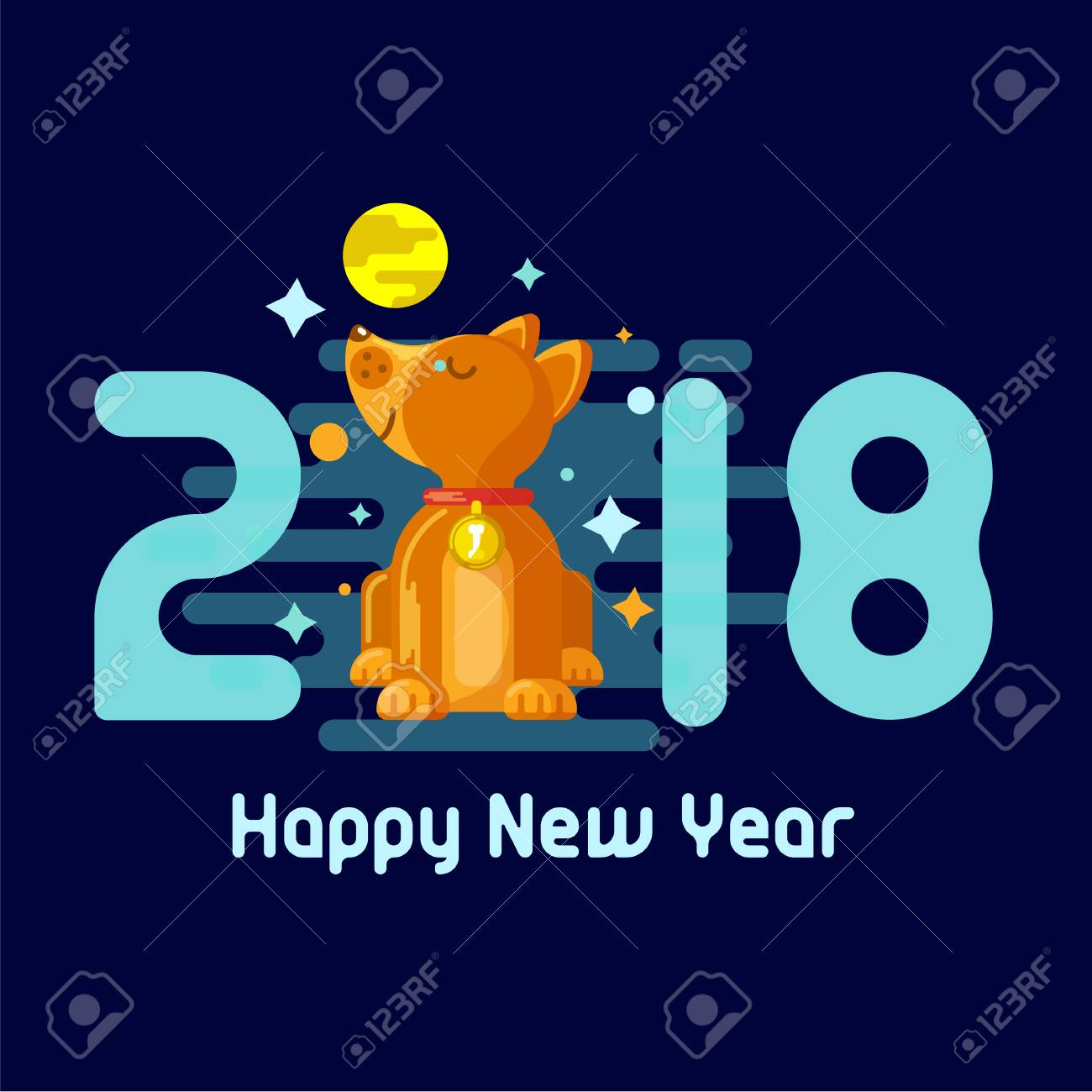 design of the new years greeting card 2018 year of the dog in the style of