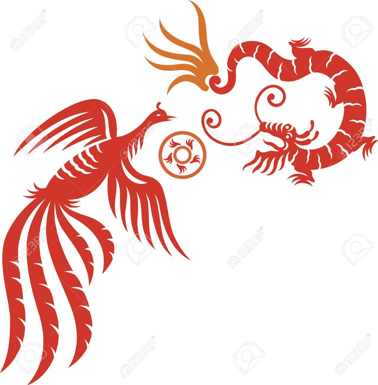 A decorative Phoenix and dragon with fireball Stock Vector - 4300707