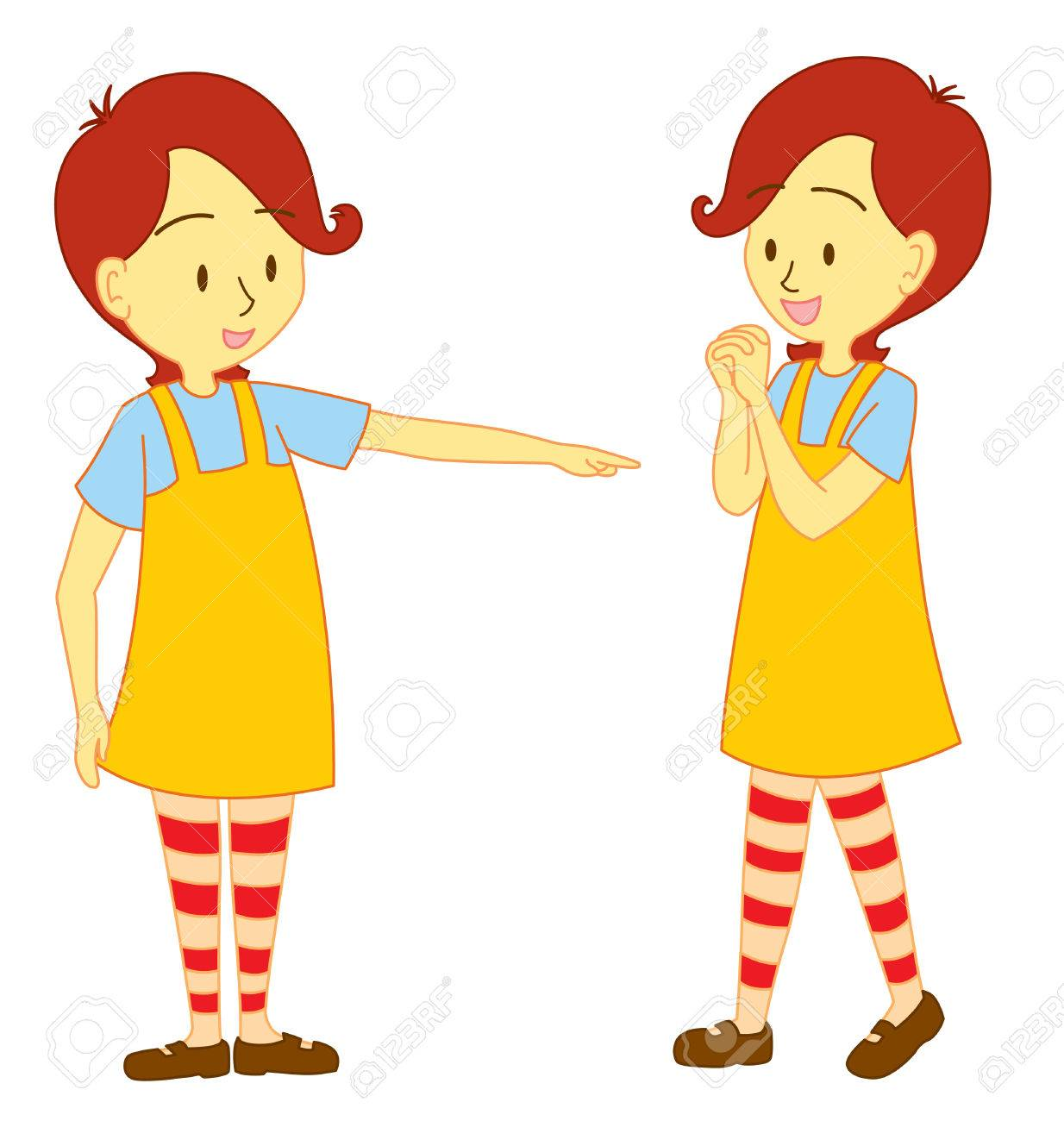 Girl character one holding both hands and one pointing at one girl character one holding both hands and one pointing at one direction stock vector voltagebd Choice Image