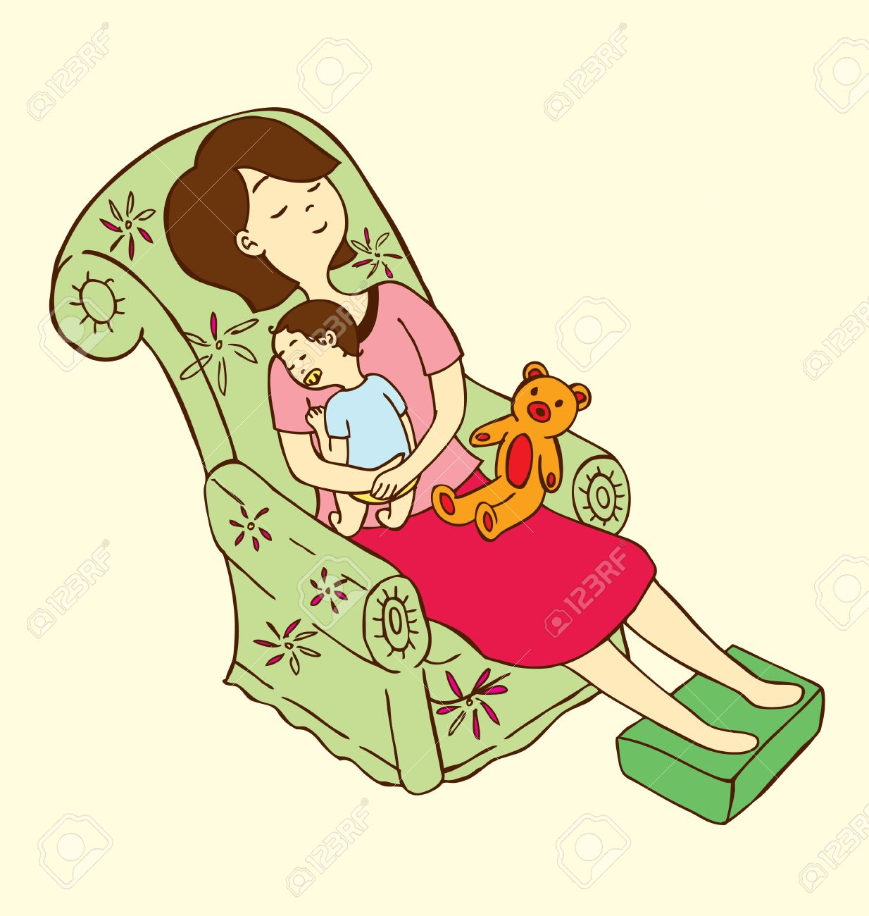 A mother put her baby to sleep in a sofa with a doll on her lap. Stock Vector - 6331261