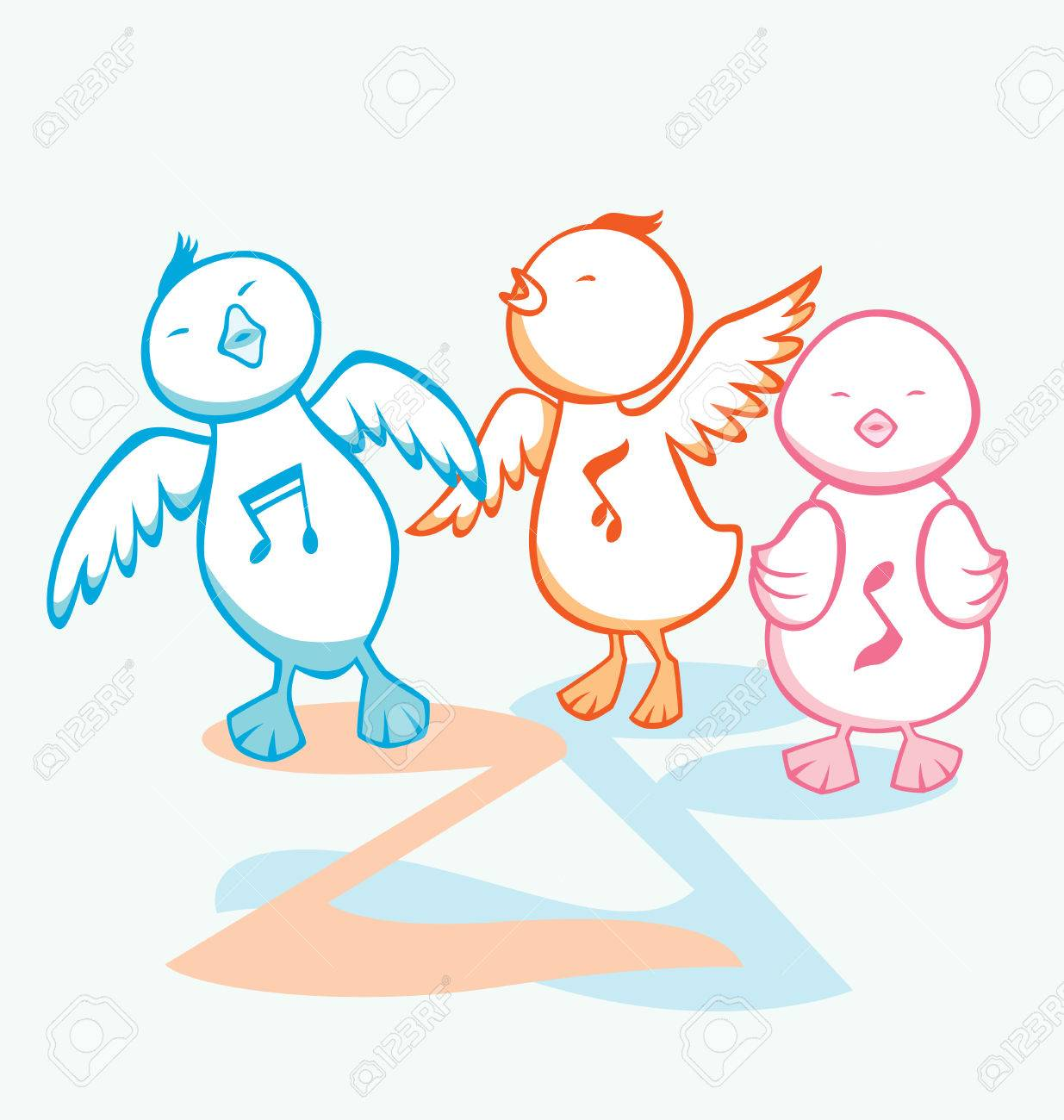 Three chicks dancing and singing with music notes as decoration. Stock Vector - 6672748