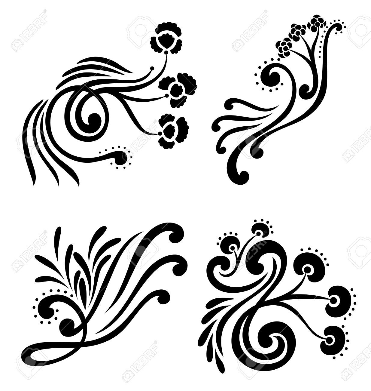 decorative design element of swirled organic shapes with flower