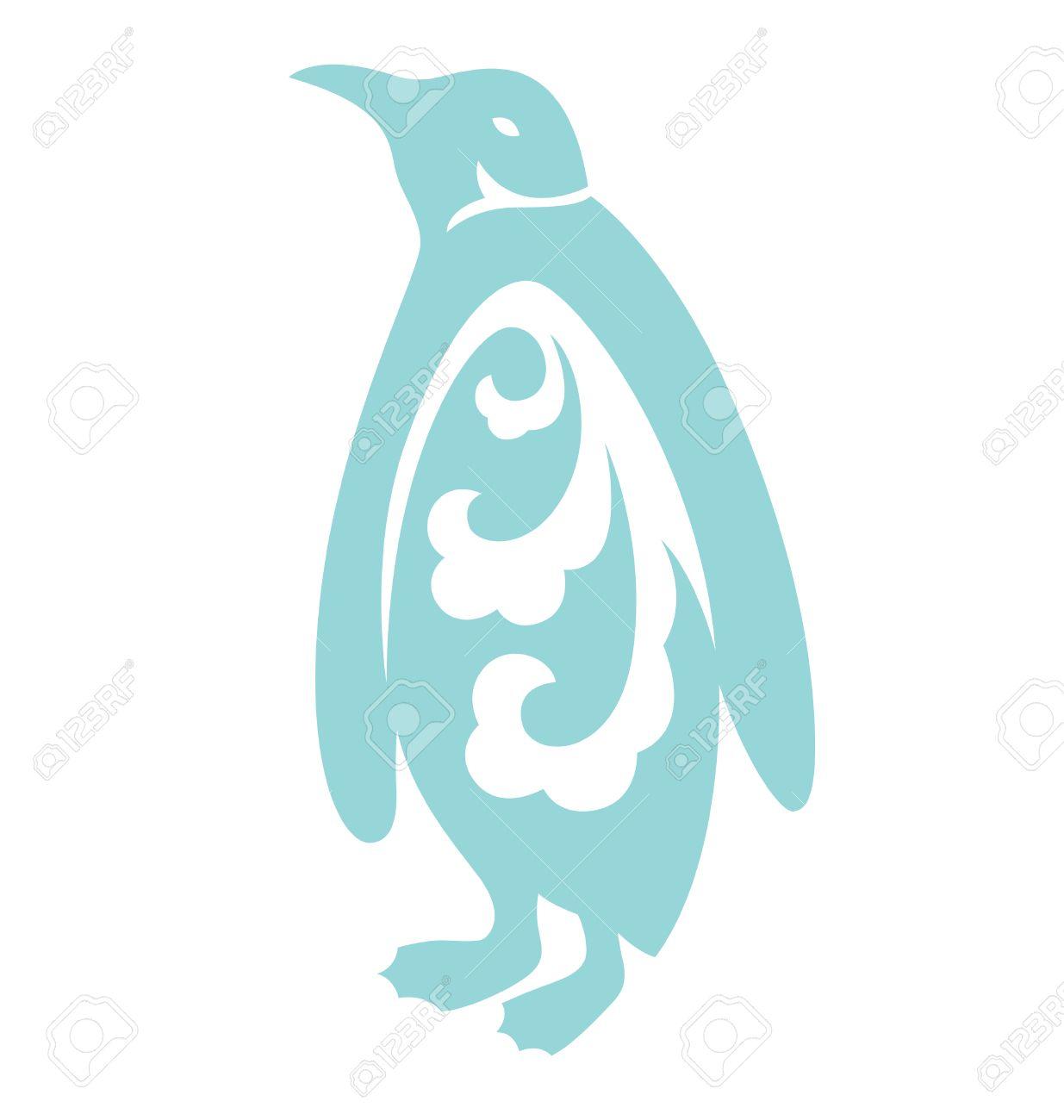 Penguin Silhouette Illustriert Mit Organischen Form Innerhalb Des ...
