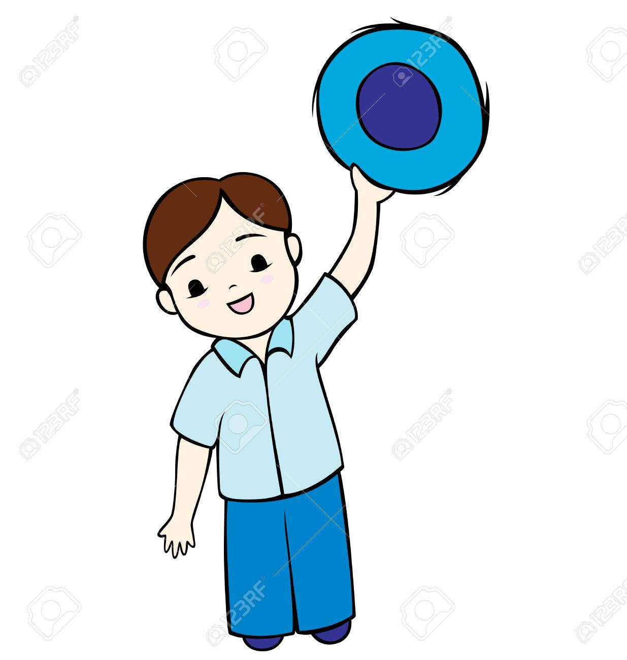 A little boy holding his hat up and waving. Stock Vector - 8209158