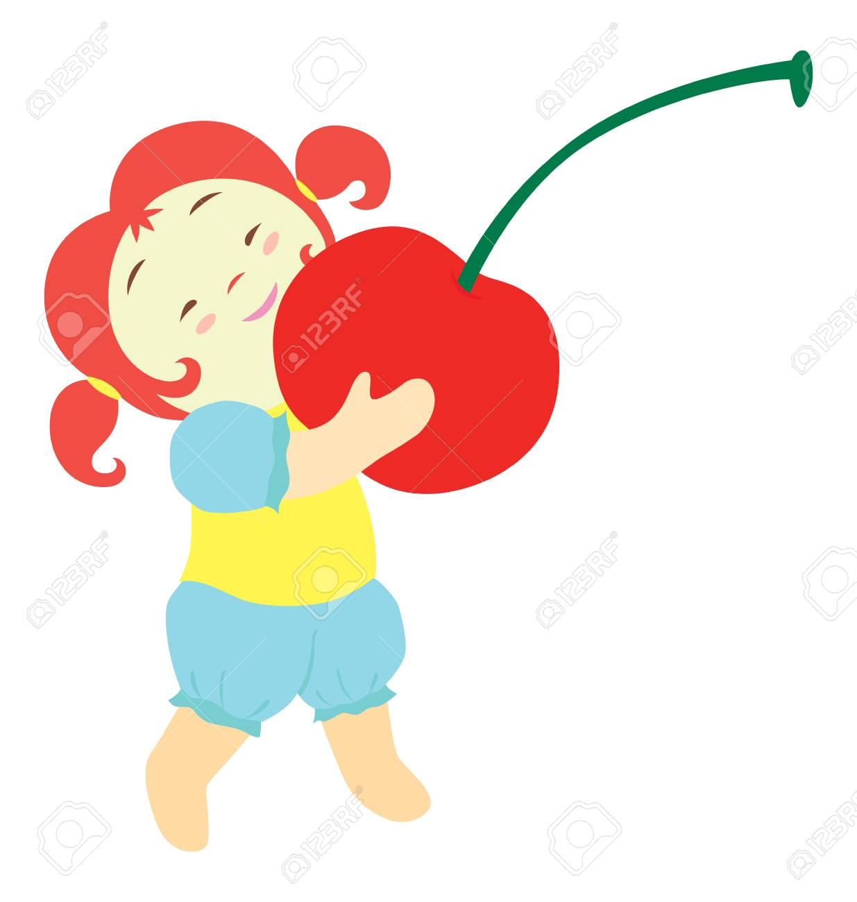 A little girl character carrying a big red cherry. Stock Vector - 9828995