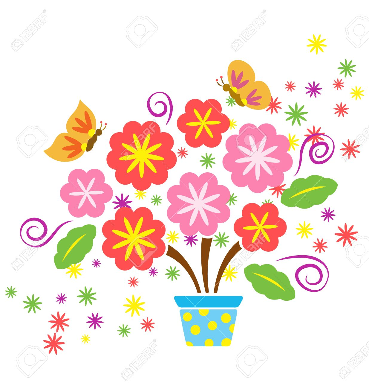 a decorative flower pot with lots of flowers and butterfly flying around stock vector 14462773 - Decorative Flowers