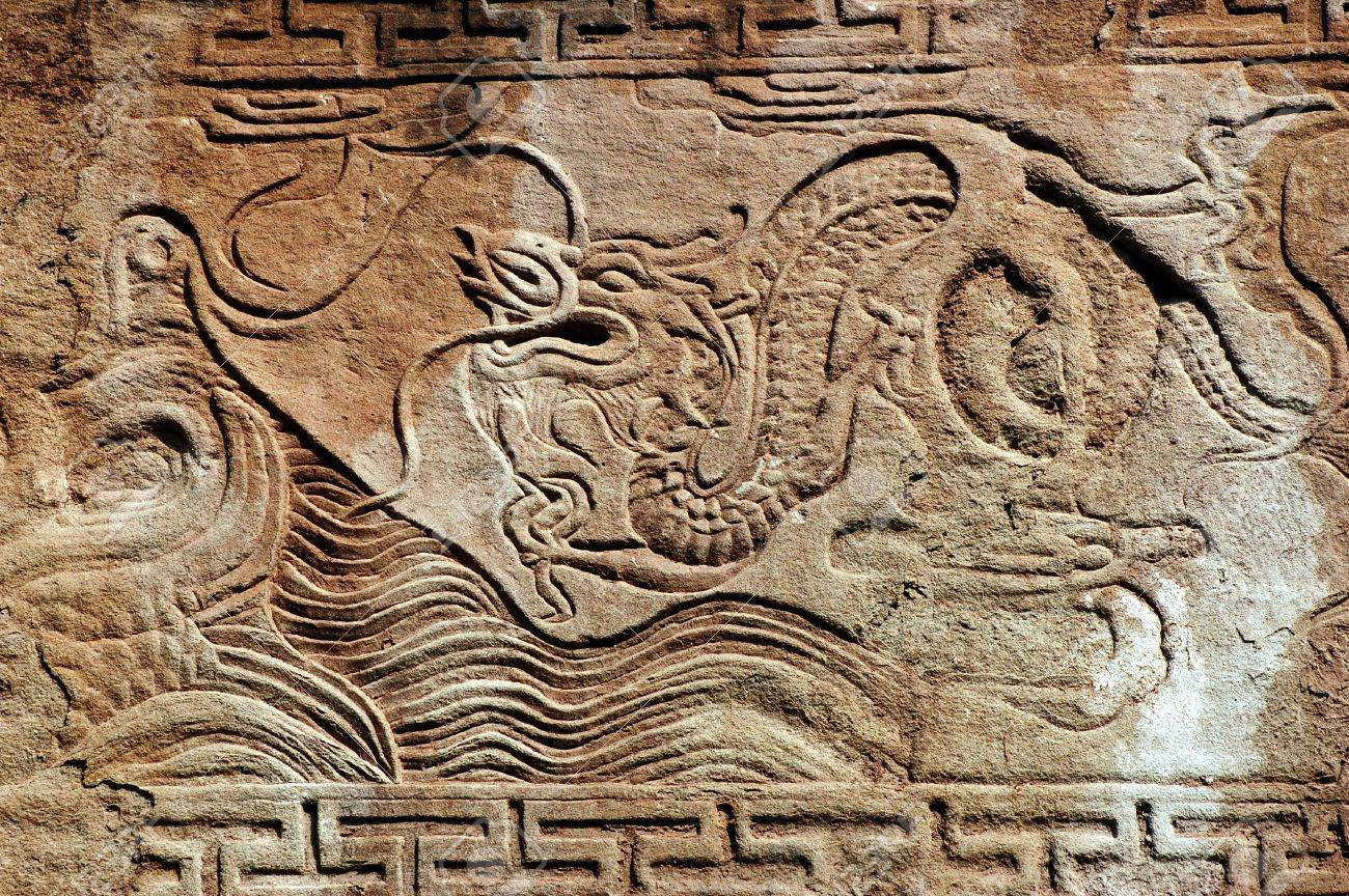 Memorial arch stone carvings in ancient china stock photo picture
