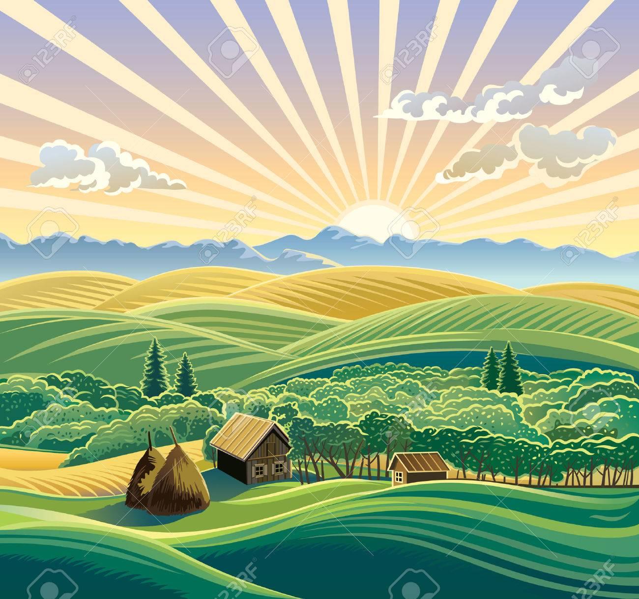 Rural landscape with a hut. - 48656060