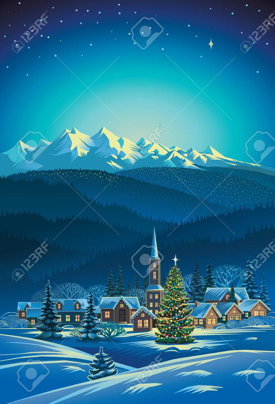 Winter rural holiday landscape. Christmas tree. - 48710971