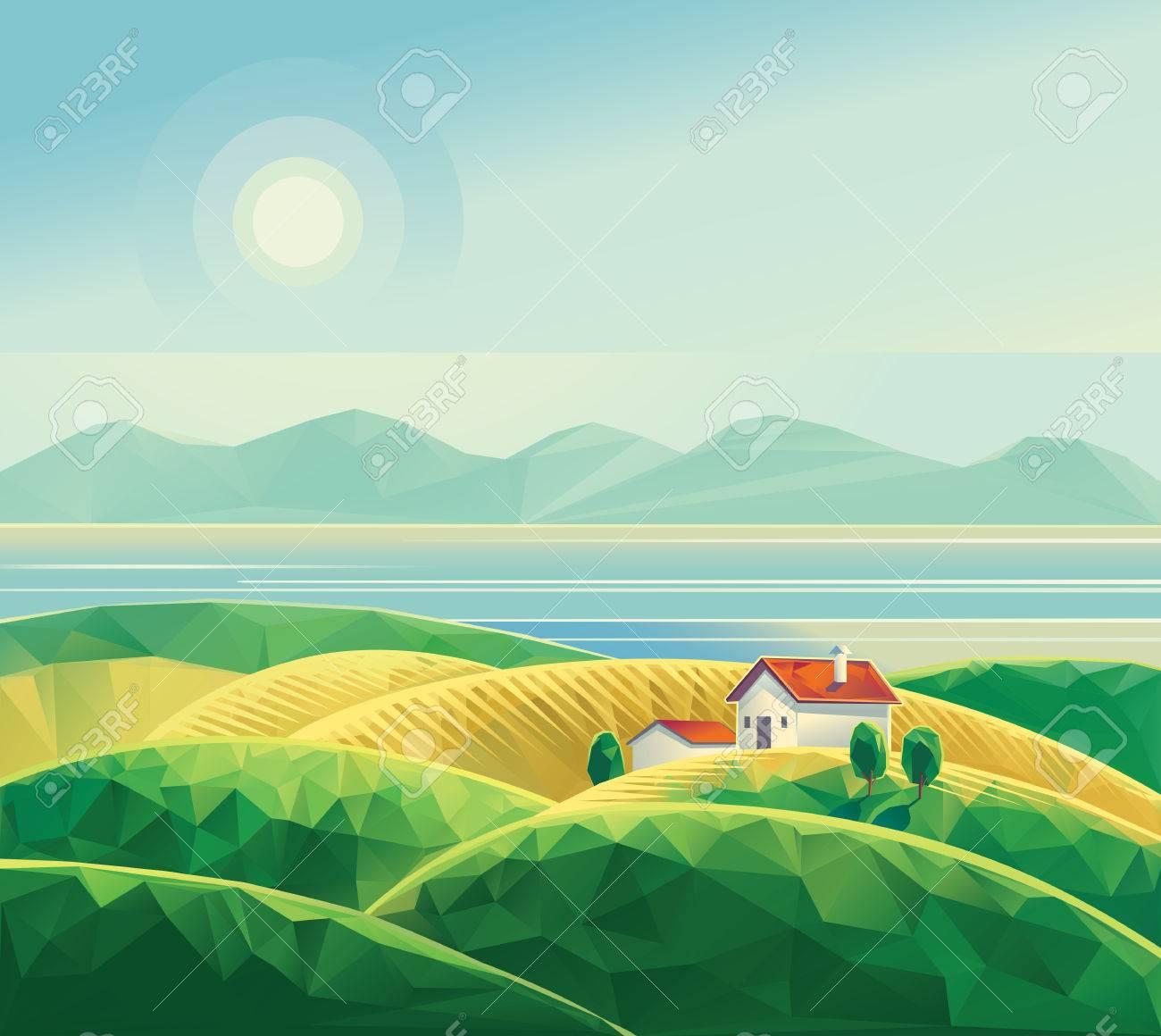 Landscape with hut. Polygon illustration vector. - 51689272