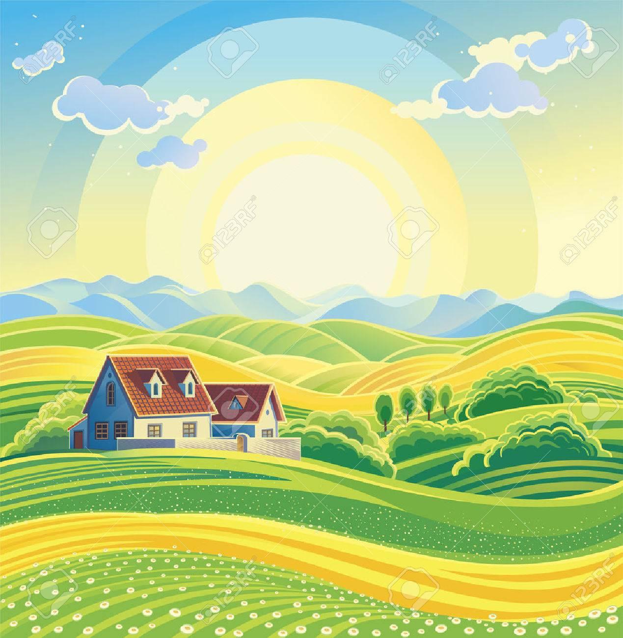 Sunny summer landscape with village. - 53134303